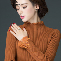 99b9e1ba03 2018 New Autumn Winter Half High Collar Short Pullover Long Sleeved Sweater  Women S Turtleneck Lace