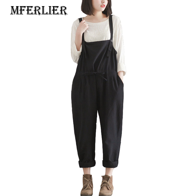 Woman Overalls Harembroek Black Cotton Plus Size   Pants   Casual Loose Trousers Women Summer   Pants     Wide     Leg     Pants