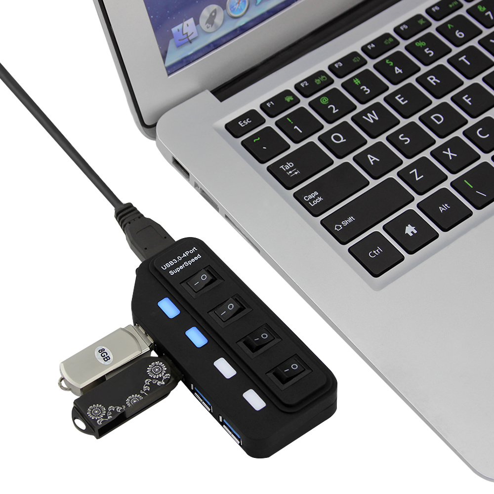 4 Ports USB 3.0 Hub 4//7 Ports 5GBP High Speed Hub for PC Laptop External Extension Adapter Cable