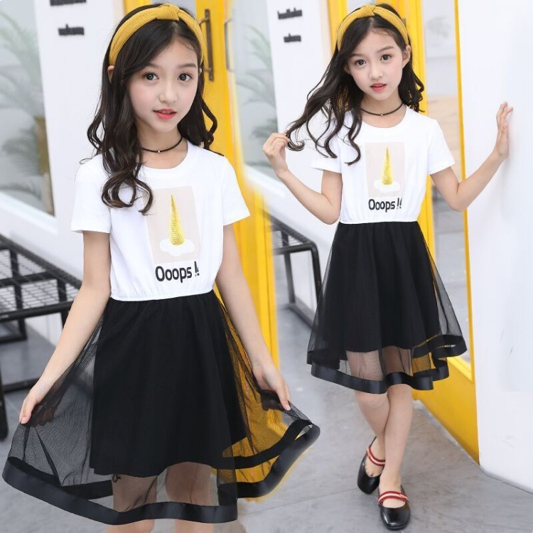 Girls summer dress 2019 new style Korean version big child children girl