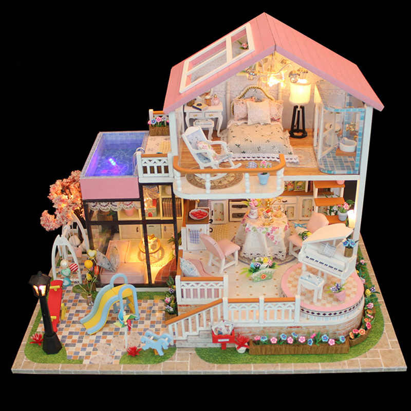 Baby Wooden DIY Doll House Miniature Handmade Assembly Model House Toy Furniture Dollhouse Birthday Gifts Christmas Decorations