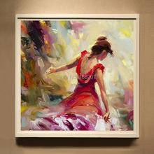 Beautiful Colors Professional Artist Hand-painted High Quality Abstract Dancer Lady Dancing Back Oil Painting On Canvas