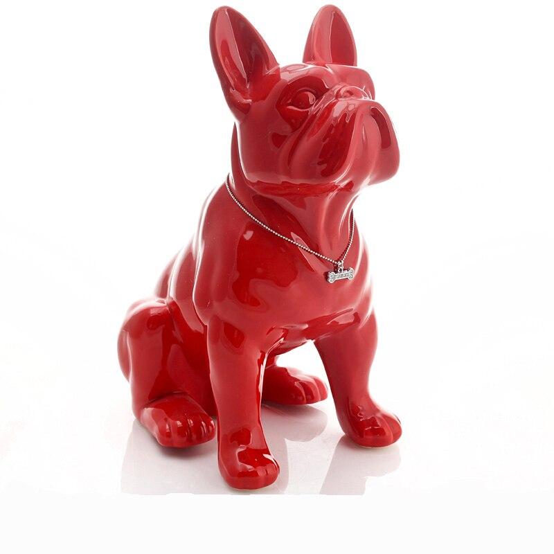 Céramique bouledogue français chien statue décoration de la maison accessoires artisanat chambre décoration objets ornement porcelaine animal figurine