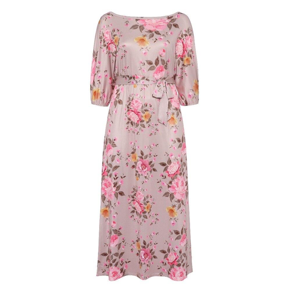 Bohemian Women Plus Size Long Dress 2018 Off shoulder Beach summer Straight Floral Print Boho Travel Girls Large Sizes Dresses
