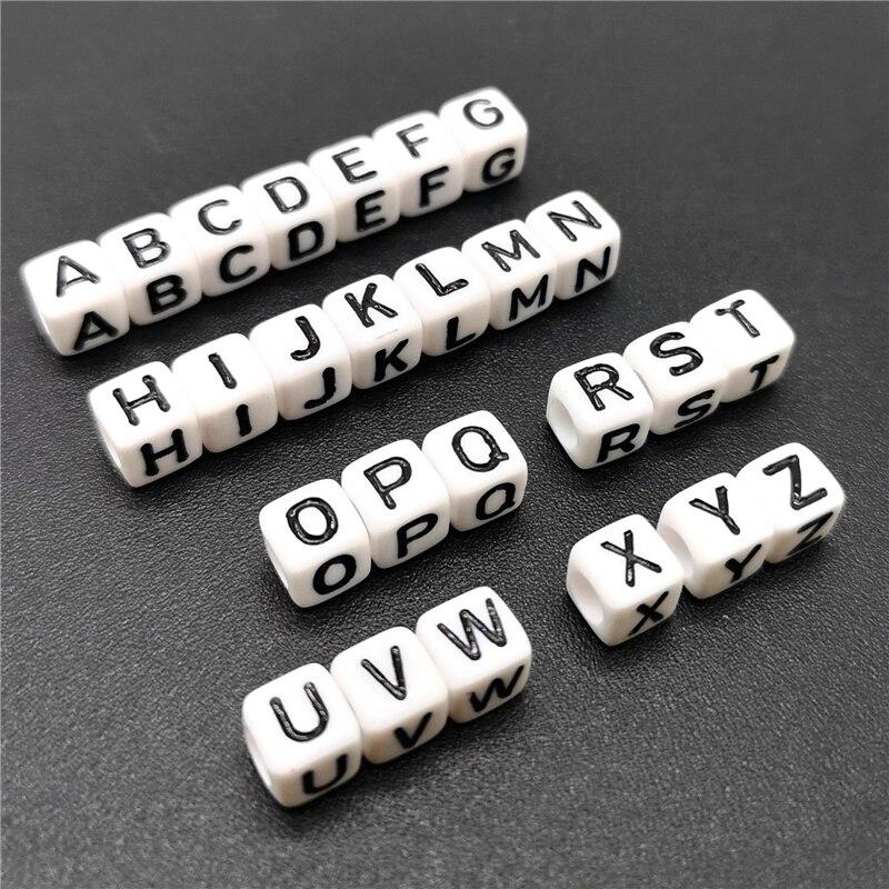 100 шт., 6 мм, акриловые бусины с буквами «Квадрат» и «Алфавит» для самостоятельного изготовления ювелирных украшений, браслетов, ожерелий