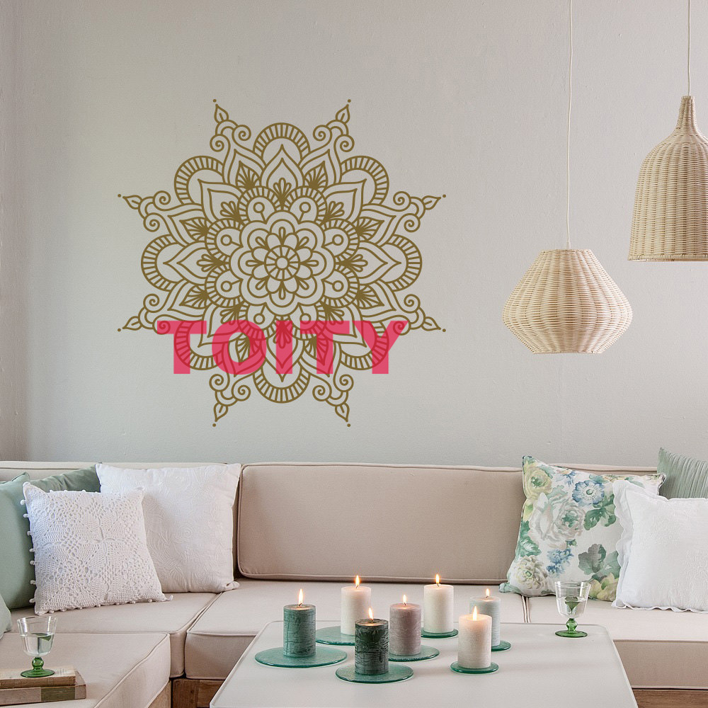 Bohe Mandala Flower Wall Paper Decor Yoga Studio Vinyl: Abstrict Lotus Flower Pattern Yoga Mandala Art Vinyl Wall