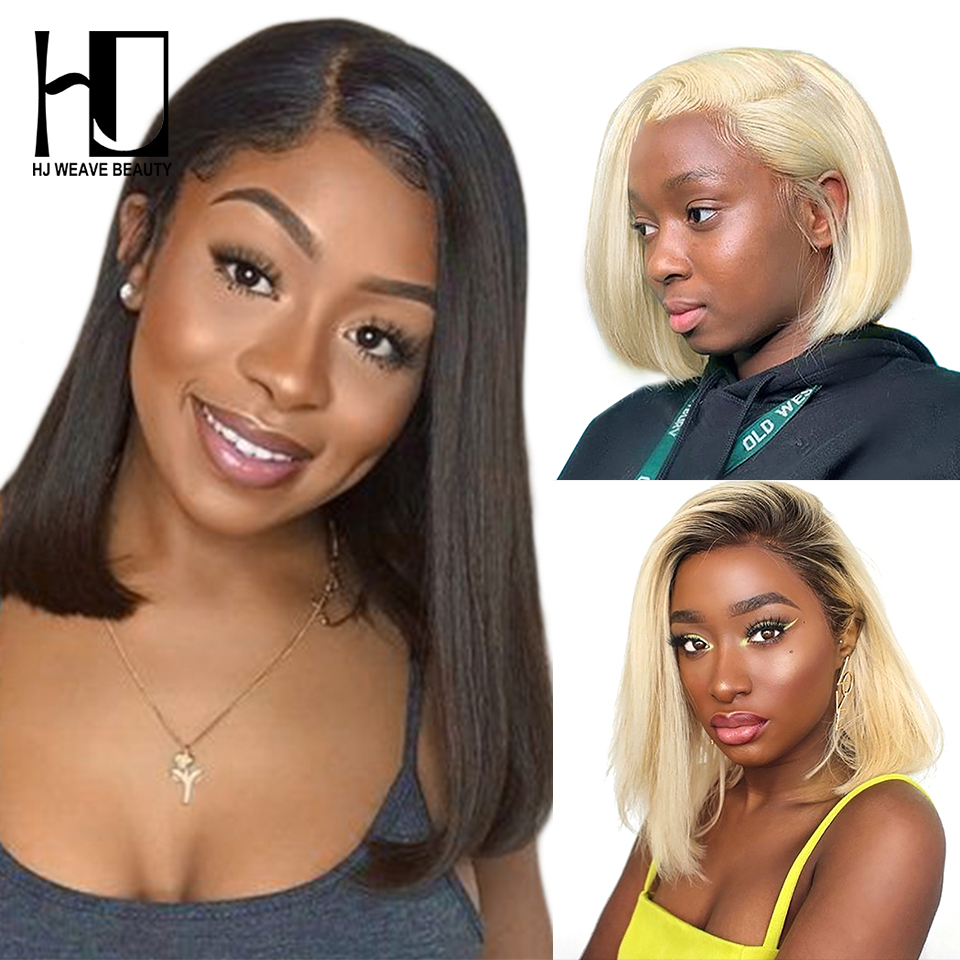 1B Blonde Lace Front Wig Indian Straight Short Bob Lace Front Human Hair Wigs For Black