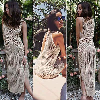 Wanita seksi Musim Panas Pantai Gaun Wanita Renda Bikini Penutup Up Crochet Swimwear GLANE