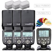 3 шт. Yongnuo YN560-III YN560 III Беспроводная ручная Вспышка Speedlite+ YN-560TX ЖК-контроллер для Canon Nikon DSLR камера