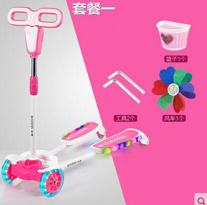 купить Scooter kids The four round of three children's scooter breaststroke scooter scooter scissors car damping pulley flash Scooter дешево