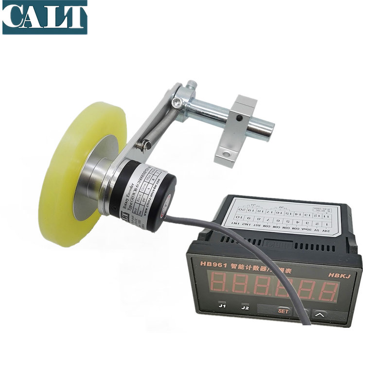 GHW38 Metal Mounting Bracket Non slip Roller Wheel Rotary Encoder with HB961 digital counter