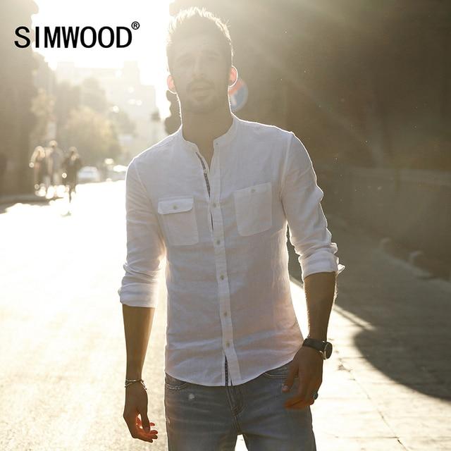 Simwood marca 2017 nueva llegada del resorte camisas casuales de los hombres de manga larga slim fit cuello mao clothing cs1591