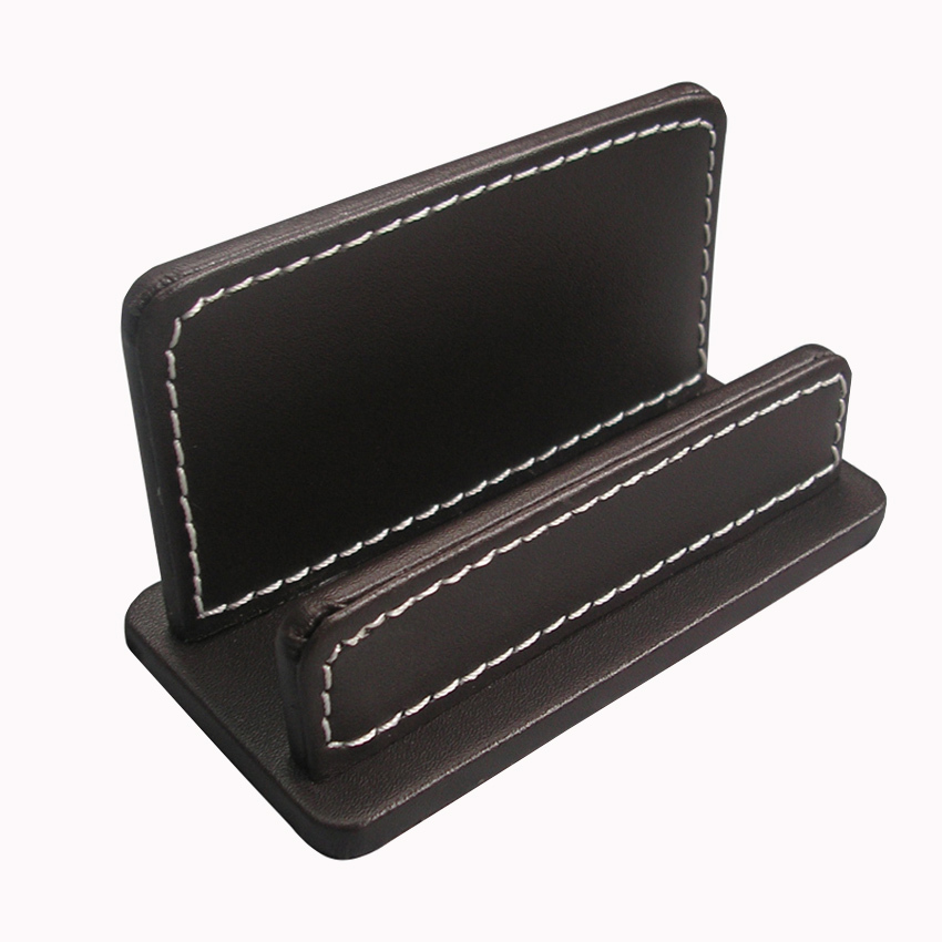 Ever Perfect Leather Desk Business Card Display Stand Note Holder ...