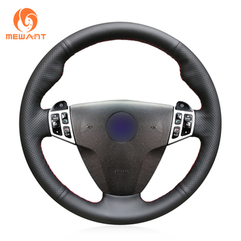 MEWANT Black Genuine Leather Hand Sew Wrap Steering Wheel Cover for Saab 9-3 2006 2007 2008 2009 2010 2011 9-5 2006-2009