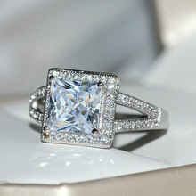 Big Bling Zircon Stone 925 Sterling Silver Wedding Engagement Rings for Women Fashion Jewelry 2019 New недорого