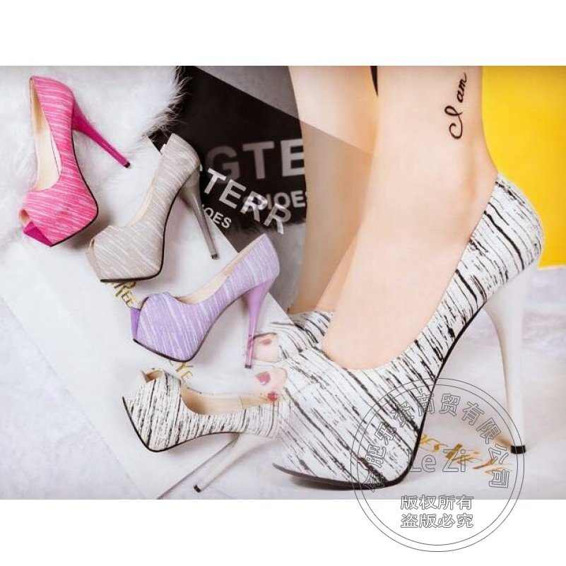 Korean Club Fish Mouth Platform Thin Heel Sexy Gingham font b Women b font Shoes Peep