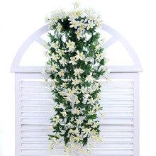 1 шт. цветок лилии подвесной, настенный Орхидея корзина Гостиная украшения дома искусственный цветок Шелковый цветок