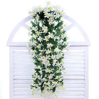 1pc Rattan Lily Hanging Flowers Wall Hanging Orchid Basket Living Room Home Decoration Accessories Artificial Flower