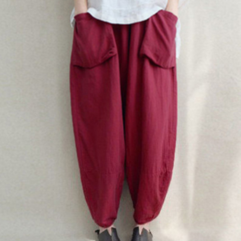 New L-5XL Oversized Women Loose Harem Pants Cotton Linen Wide Leg Pants Elastic Waist Retro Casual Solid Baggy Pantalon Trousers
