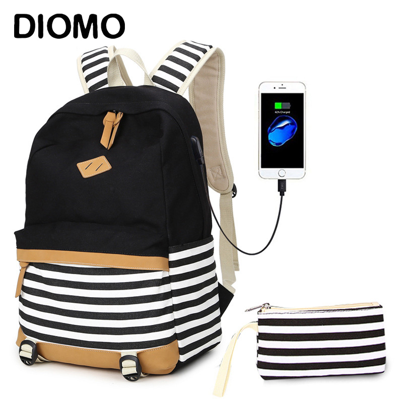 DIOMO USB Charging School Bags For Girls Canvas Cotton Fabric Fashion Striped Backpack For Children Bag Pack Schoolbag