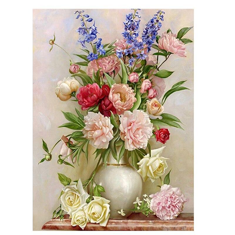 Diamond cross stitch 5d diamond embroidery flower rose vase home decor diy diamond painting Diy home decor flower vase