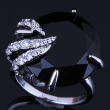 Trendy Round Black Cubic Zirconia White CZ 925 Sterling Silver Ring For Women V0557