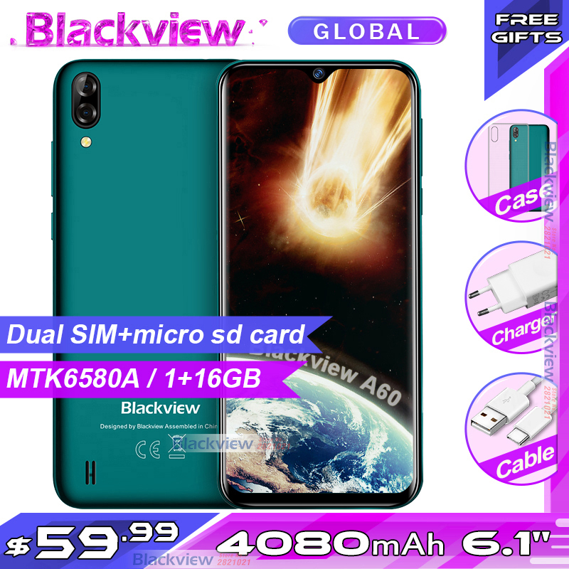New Arrival Blackview A60 Smartphone 4080mAh Battery 19:9 6.1 Inch Dual Camera 1GB RAM 16GB ROM Mobile Phone 13MP+5MP Camera