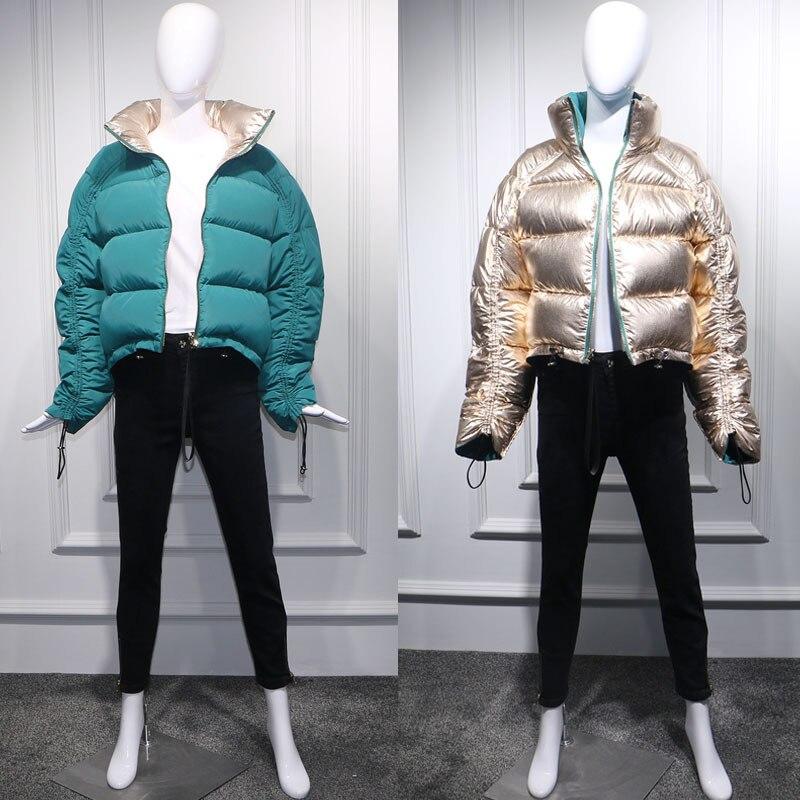 FTLZZ الشتاء المرأة أسفل سترة الذهبي الأخضر معطف قصير مزدوجة الجانب الياقة المدورة طوق أبيض بطة أسفل الثلوج أبلى ستر-في معاطف قصيرة من ملابس نسائية على  مجموعة 2