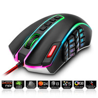 Redragon Wired USB Gaming Mouse 24000DPI 24 Buttons Laser Programmable Game Mice LED RGB Backlight Ergonomic For Laptop Computer|Mice| |  -