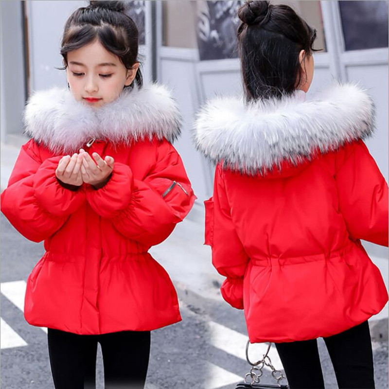 Winter Girls Jacket 2018 New Fashion Fur Collar Short Girls Thick Warm Coat Slim Down Coat Winter Jacket Hot Fit 5-13T winter jacket women 2016 fashion down cotton short slim solid color jacket and coat korean stand collar parka manteau femme