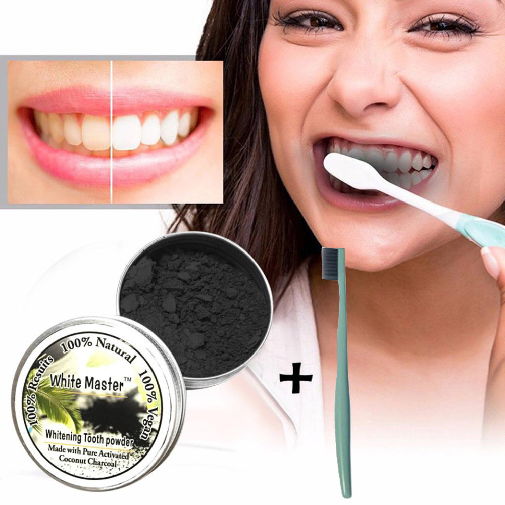 Bamboo-Powder Toothbrush Teeth-Whitening-Powder Activated-Charcoal Organic with 2m103