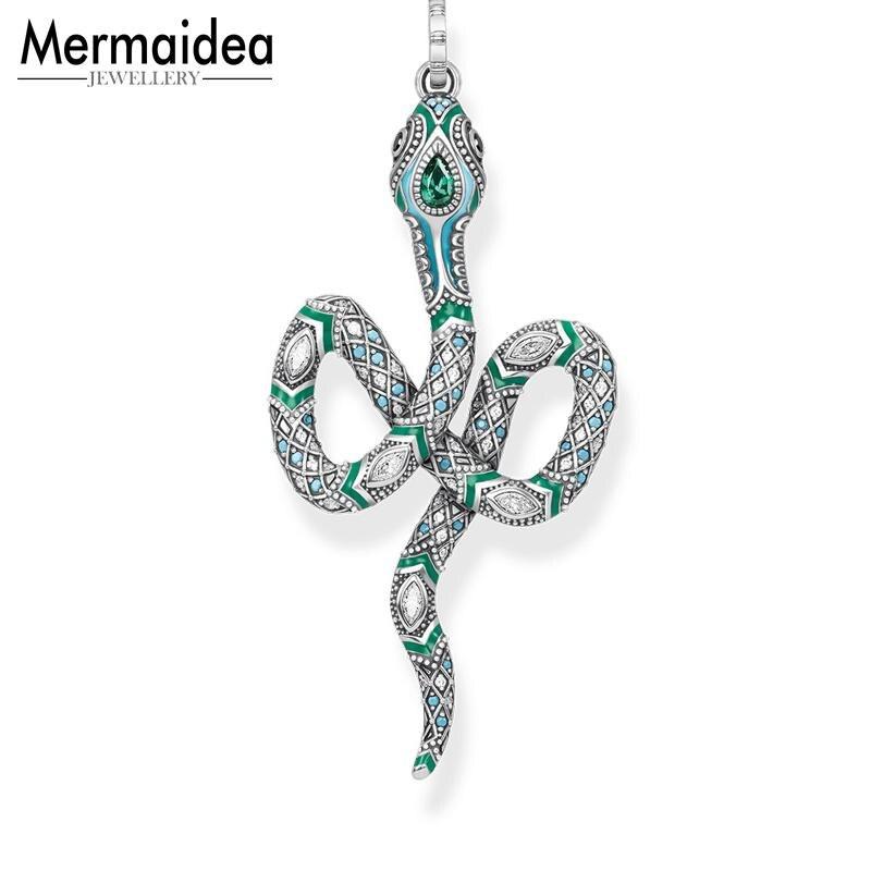 0e22a7e35d65 ... regalo para mujer niñas. Cheap Colgante verde serpiente 2019 primavera  Nueva joyería de moda pura 925 Plata de Ley estilo