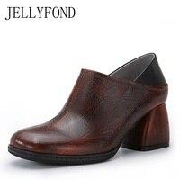 JELLYFOND Брендовые женские туфли лодочки Винтаж Стиль 2018 круглый носок ручной работы из натуральной кожи высокий толстый каблук обувь большог
