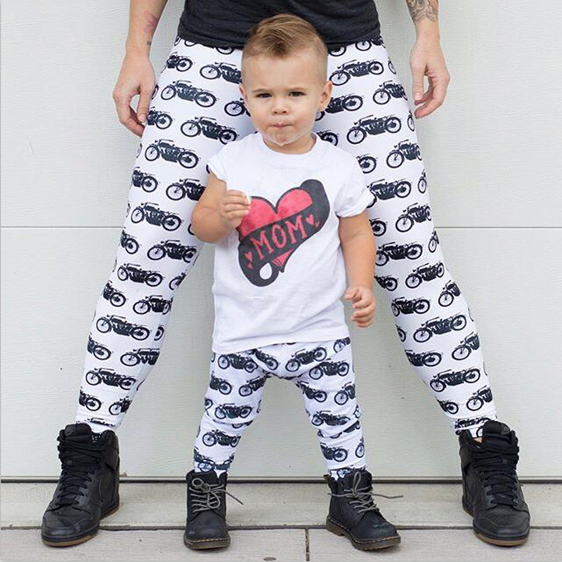 Mother and Daughter Long Pants Mom Girls Baby Stretchy Pants Family Matching Leggings Trousers Animal Printed Pants Outfits image