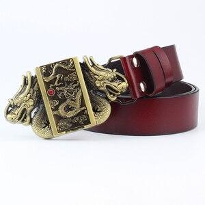 Image 2 - Мужской ремень из натуральной воловьей кожи, пояс с металлической пряжкой в виде дракона, зажигалка для сигарет в подарок