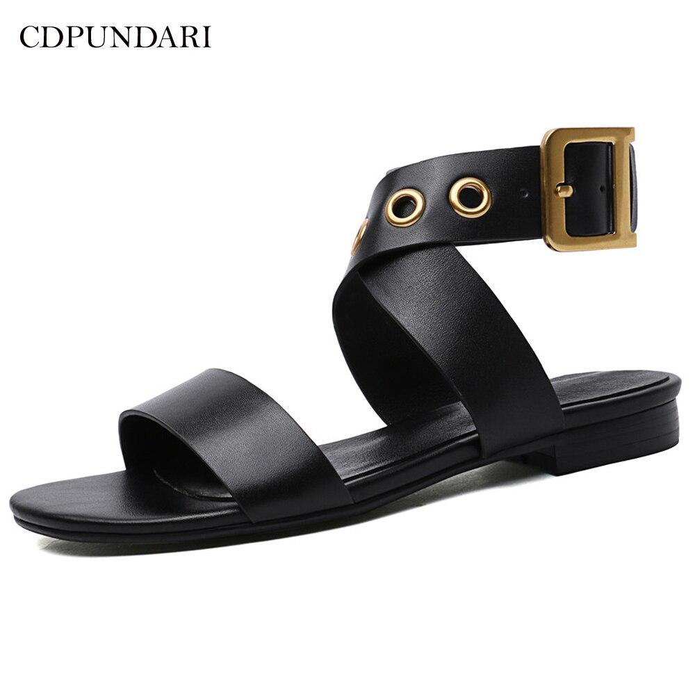 CDPUNDARI Ladies Genuine Leather Flat sandals for women Gladiator Sandals summer shoes woman sandalias mujer 2019