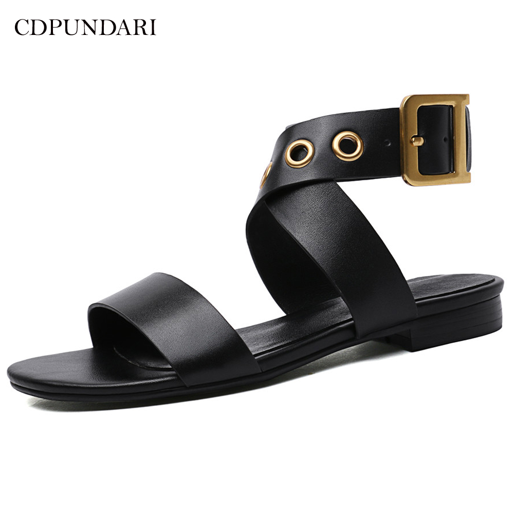 Cdpundari 여성용 정품 가죽 플랫 샌들 검투사 샌들 여름 신발 여성 sandalias mujer 2019 black white-에서여성용 샌들부터 신발 의  그룹 1