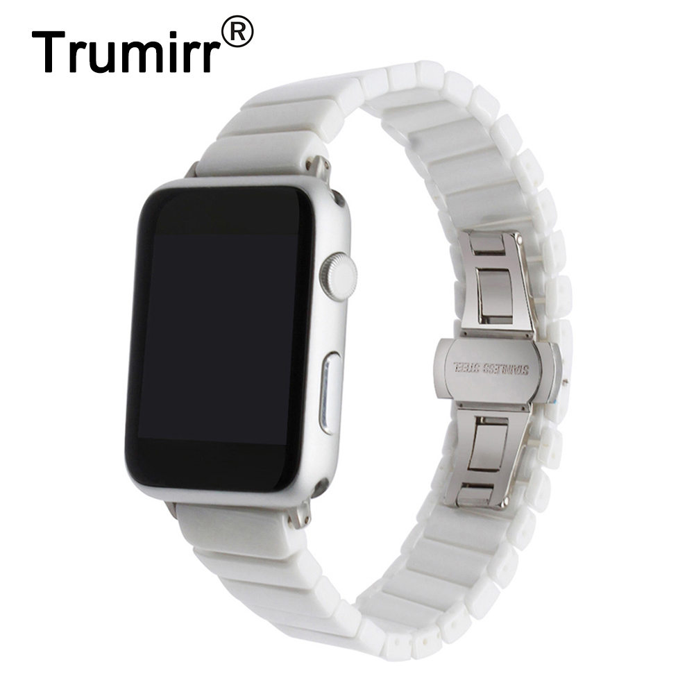 Ceramic Watchband for iWatch Apple Watch 38mm 42mm Series 1 2 3 Porcelain Band Link Strap Steel Butterfly Buckle Wrist Bracelet 2pcs free shipping high quality 1 4 4v220 08 5 ways 2 positions air control solenoid valve dual head dc12v or dc24v