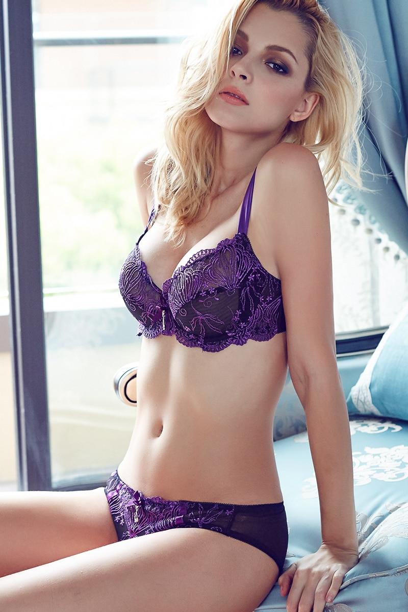 Online Shop Sexy bra set push up lace translucent lingerie floral ...