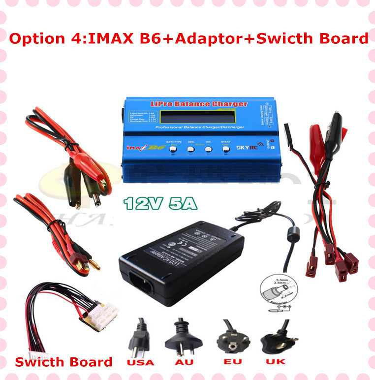 sky rc Original IMax B6 B6-AC 2s-6s Digital LCD Lipo NiMh battery Balance Charger +adaptor+switch board(option 4) P1