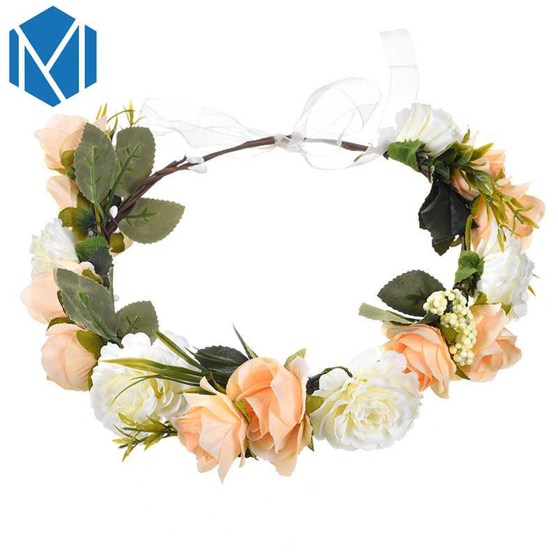 Женский ободок цветы Корона Свадебная Цветочная повязка на голову венок Свадебный ободок романтическая Роза Пион аксессуары для волос диадема для невесты