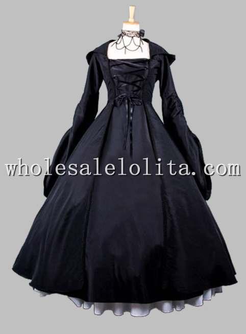 Halloween Sorcière Noir Deux Cosplay Costume Gothique Robe Pièces B4w5q5