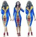 Womens Vintage Long Sleeve O-Neck Print Afican Tribe Sheath Dresses ladies Clubwear Clothes