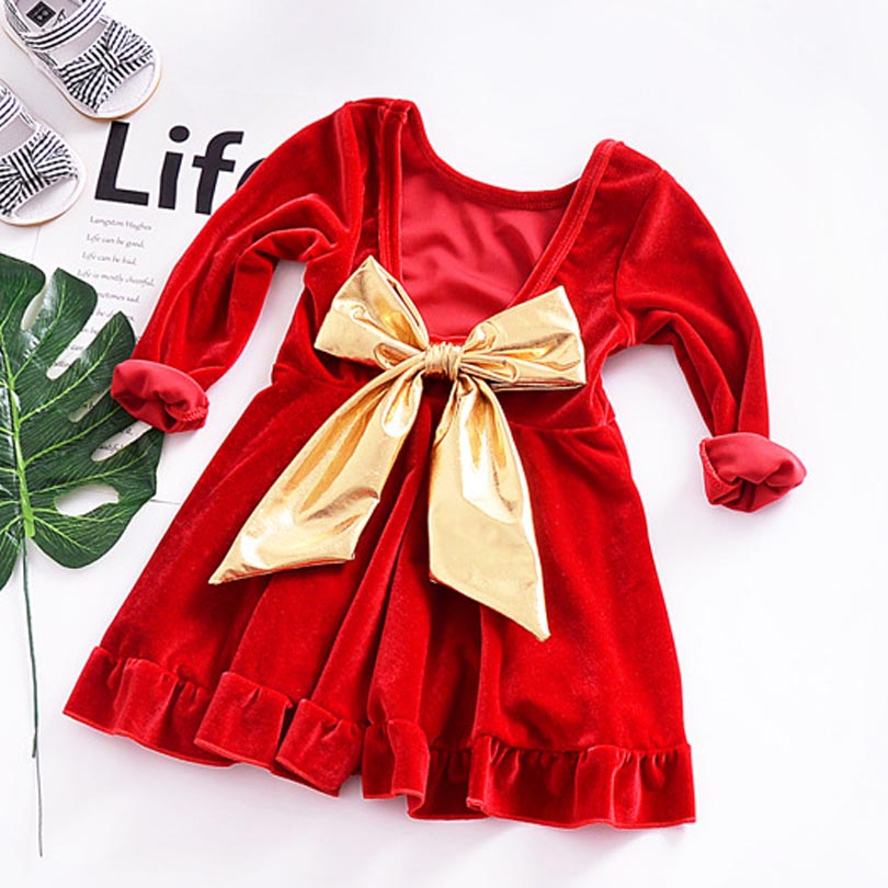 0 5T Baby Girls Velvet Princess Dress With Big Bow Party Pageant Dress Birthday Gifts Toddler Infant Girls Bow Xmas Dresses Red in Dresses from Mother Kids
