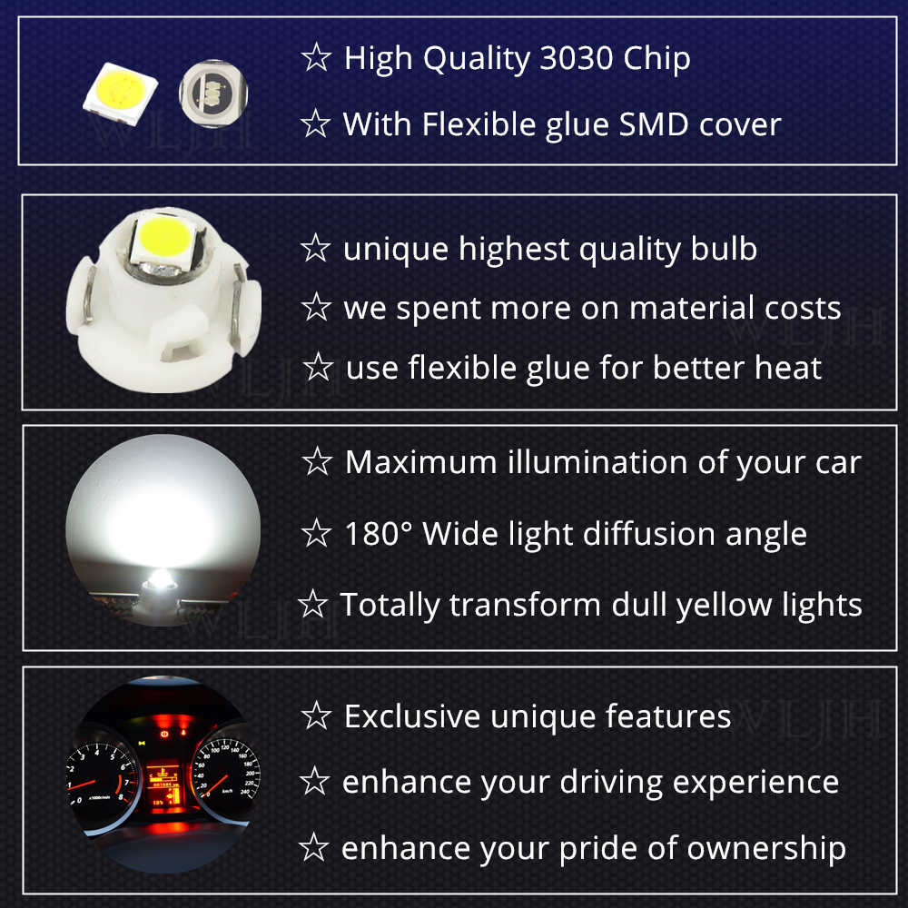 WLJH 10x Neo إسفين Led ضوء 90010-01122 AC سخان التحكم لمبة لتويوتا كورولا 2009-2013; RAV4 2006-2012; لمصفوفة 2009-2014