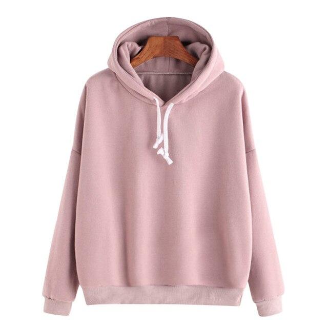 0c77eef07dc Pink Hoody Women Hoddies Kpop Ladies Solid Long Sleeve Casual Hooded  Sweatshirt Pullover Moletom Feminino Dropshipping 40AT14