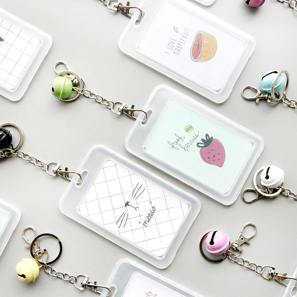 Cartoon Transparent Plastic Card Holder Keyring Sleeve Set Bank Card ID Card Bus Card holder Case Bag with Bell Chain r20 rubber holder for headphones
