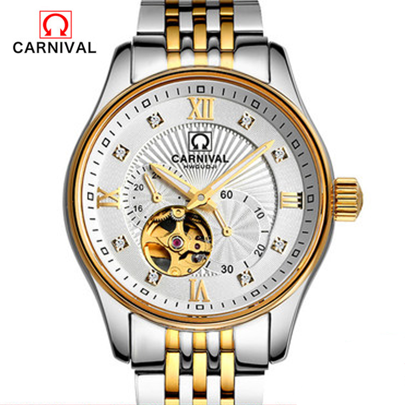 Carnival men full automatic mechanical watch hollow tourbillon leisure fashion business stainless steel male watch free delivery 2016 holuns watches men automatic mechanical watch hollow steel men s fashion business waterproof watch male table tourbillon