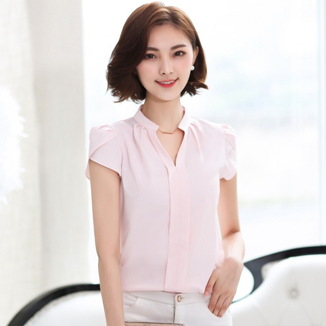 19379621 2016 Summer Short Sleeve Shirt women Casual Office Formal Blouses New  Fashion solid v-neck top 58G 25