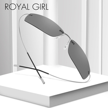 ROYAL GIRL Rimless Polarized Sunglasses Men TR90 Ultralight Driving Sun Glasses Male Vintage Small Metal Frame Oculos MS019